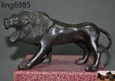 Old Chinese bronze Fengshui animal Ferocious Lion King Animal Statue sculpture