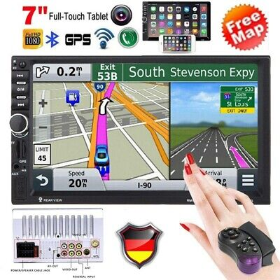 "7"" AUTORADIO mit GPS Navigation NAVI BLUETOOTH WIFI DOPPEL 2 DIN MP5 + EU Karte"