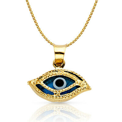 14K Yellow Gold Evil Eye Charm Pendant with 1.2mm Flat Open Wheat Chain Necklace