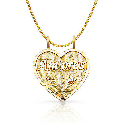 14K Yellow Gold Heart 2 Piece Charm Pendant 1.5mm Flat Open Wheat Chain Necklace