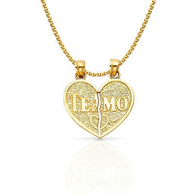 14K Yellow Gold Heart 2 Piece Charm Pendant 1.2mm Flat Open Wheat Chain Necklace