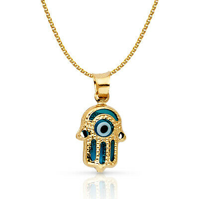 14K Yellow Gold Evil Eye Hamsa Charm Pendant & 1.2mm Open Wheat Chain Necklace