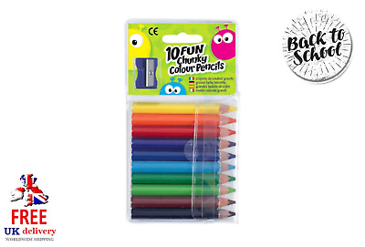 10 FUN Chunky Colour Pencils With A Sharpener Choice of 2 Colours