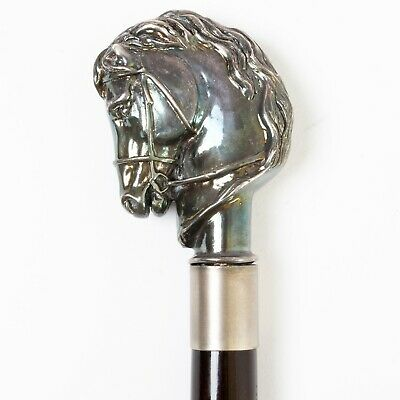 """Vintage Italian Walking Stick Wood Cane Silver Plated Horse Head Handle 37.5"""""""