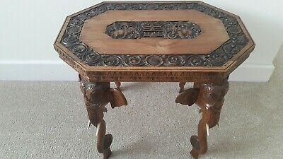Antique Victorian Anglo Indian Wooden Elephant Side, End, Coffee Table