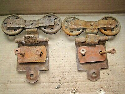 2 Vintage Antique Frantz Mfg. Barn Shed Door Trolley Hanging Track Rollers