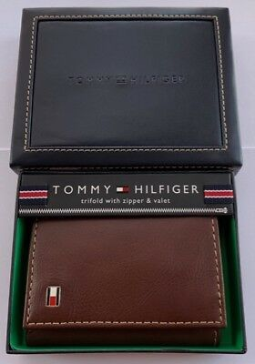 GENUINE Tommy Hilfiger Mens Logan Leather Trifold Wallet with Zipper TAN