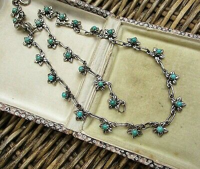Lovely Vintage Or Antique Silver & Turquoise Necklace