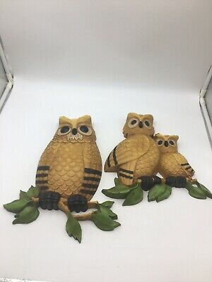 HOMCO OWL Family Wall Plaques Set of 2   #7403 Summer Night Memories