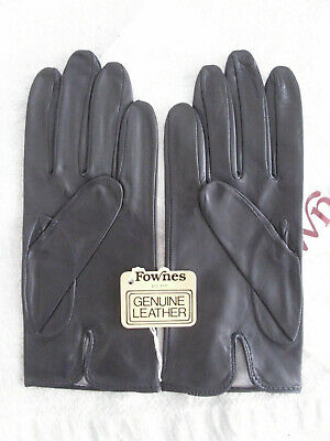 Vintage Fownes Black Leather Gloves Mint Condition in Packaging w Tags 70s 80s