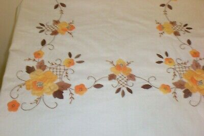 White Tablecloth Fall Floral Applique Gold & Bown Rectangular