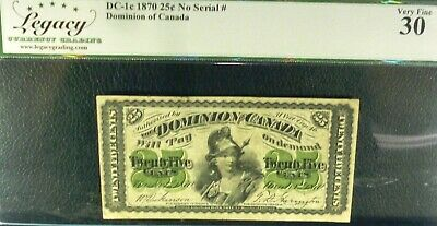 1870 25 CENTS fractional banknote DOMINION OF CANADA