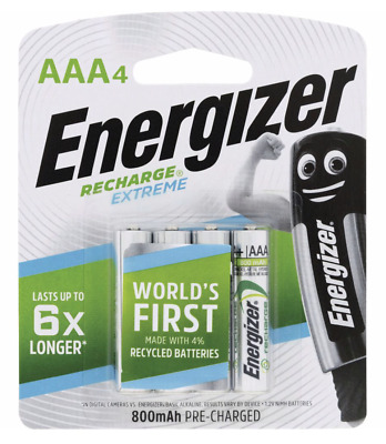 Energizer Recharge AAA 800 mAh 4 pack 5 year shelf life Batteries New & Sealed