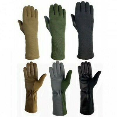 NOMEX FLIGHT FLYERS GLOVES PILOT FIRE RESISTANT Black, Green, Tan-All Sizes-