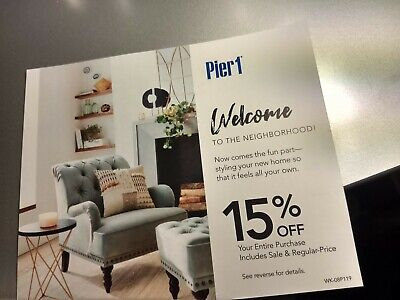 Pier 1 One Coupon 15% Off Entire Purchase Coupon—expires 9/30/2019