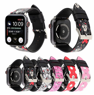Mickey Mouse Minnie Leather Sport Band fr Apple Watch Series 5 4 3 2 Wrist Strap