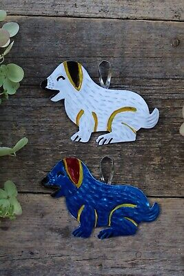 Set of 2 Dogs Tin Milagros Handmade & Painted Ornaments Oaxaca Mexican Folk Art