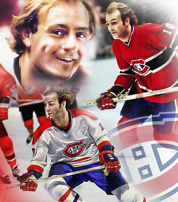 "GUY LAFLEUR  8"" X 10""  Photo/Painting Collage  NHL Montreal Canadiens Habs"