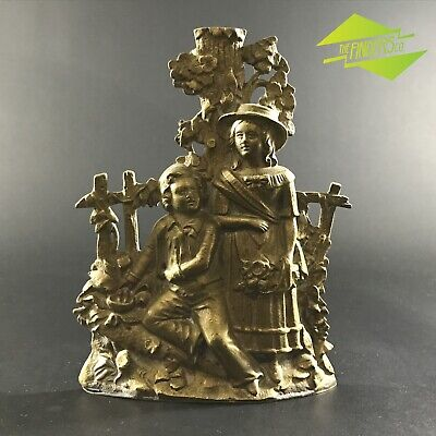 Brilliant Antique Cast Brass Ornament Boy Girl Victorian Dress Statue Metalware