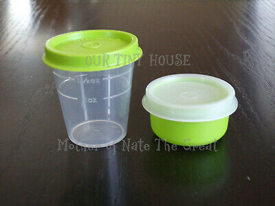 TUPPERWARE SMIDGET and Midget SET Spice Dressing Mini Smidgets Pill Box GREEN