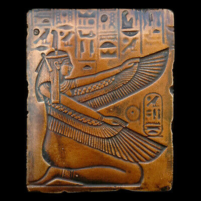 Isis Egyptian goddess Relief sculpture plaque in Bronze Finish