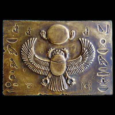 Winged Scarab Ancient Egyptian sculpture Relief plaque Dark Bronze