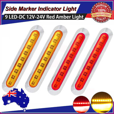 2X Red+2X Amber Waterproof 9 LED Side Clearance Marker Light Lamp Truck Trailer