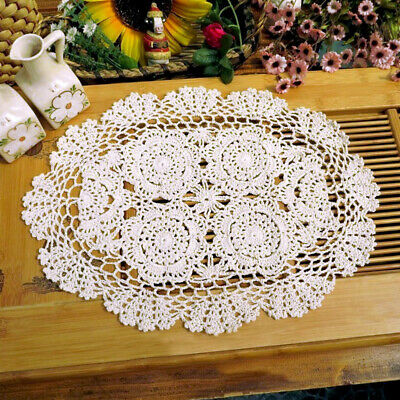 Oval White Vintage Hand Crochet Lace Doily Table Runner Mats Wedding 11x17inch