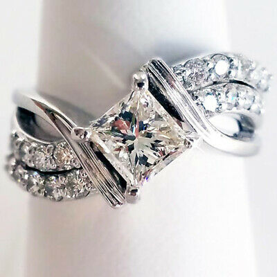 Fashion White Sapphire Ring Jewelry 925 Silver Wedding Rings For Women Size 6-10