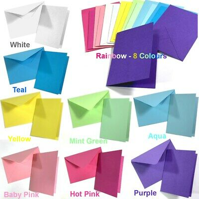 Blank Coloured DIY Cards & Envelopes Birthday Parties Wedding Invitations White