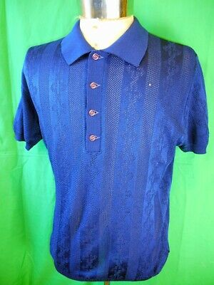 Vintage 1960s 70s Dark Blue Polyester Acetate 'Astralon' Polo Shirt L