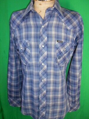 Vintage 1970s Blue Plaid Poly/Cotton Western Gear Cowboy Shirt Pearl Snaps L