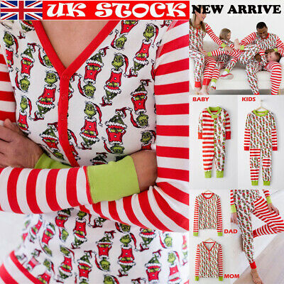 UK Family Matching Xmas Pajamas Set Women Kid Dad Adult PJs Sleepwear Nightwear