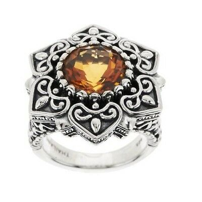 QVC White Mother of Pearl Gold Leaf Citrine Sterling Silver Ring Size 7 $162