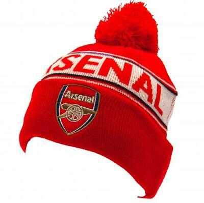 Arsenal Fc Text Design Bobble Cuff Knitted Hat - Official Gift
