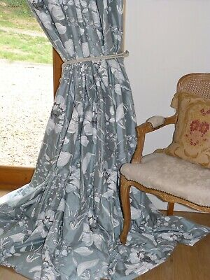 """ROMO Silk CURTAINS Livia  INTERLINED Duck Egg PAINTERLY FLORAL Ea 121""""W 93""""D NEW"""