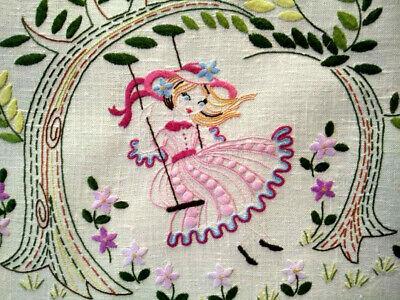 Charming Pink Crinoline Lady on Swing  Vintage Hand Embroidered Centre/mat
