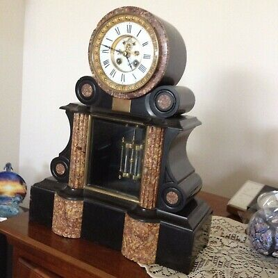 Antique French marble and slate mantle  pendulum clock