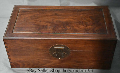 "20"" Antique Chinese Dynasty Palace Huanghuali Wood Carved Storage Jewelry box"