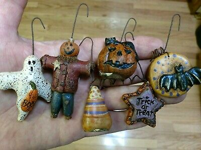 6 Hanging Resin Hand Painted Halloween Ornaments Decorations Salem Collection