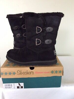 NEW WOMEN'S SKECHERS Keepsakes Tribute Button Boots Black