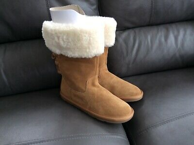 M/&S TAN FUR LINING SUEDE PULL ON BOOT SZ 3 OLDER