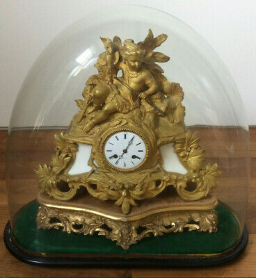 Large Antique French Ormolu Clock & Dome