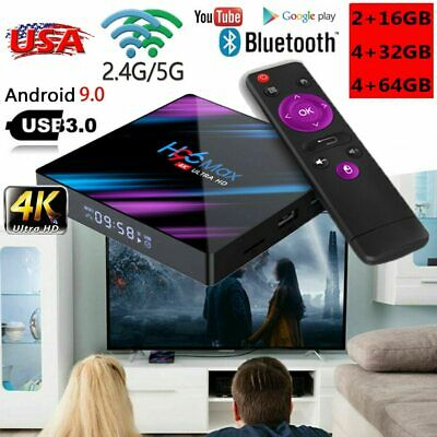 H96 MAX 3D Smart TV BOX 4GB+64GB RK3318 4K HD Quad Core WIFI USB Android 9.0 US#