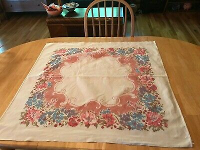Vintage Printed Tablecloth Flowers Floral Red Pink Blue Linen Kitchen Table