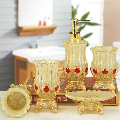 5pcs Resin Soap Dish Dispenser Bottle Toothbrush Holder Cup Bath Accessories Set