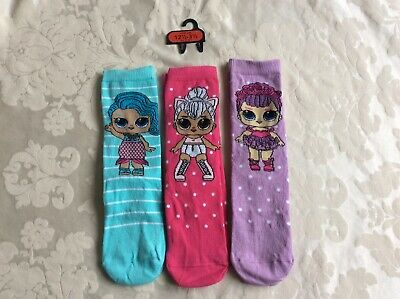 New LOL Surprise 3 Pairs of Girls Socks 12.5 - 3.5 / 31-36.5