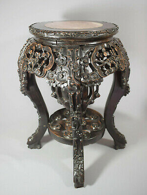 CHINESE CARVED HARDWOOD SIDE TABLE OR PLANT STAND - LATE 19th CENTURY