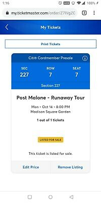 Post Malone Runaway Tour Ft. Swae Lee (row 7, sec 227). 10/14/19