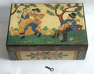 Black Forest Jewellery Box Hand Painted Folk Art Decoration - Working Lock & Key